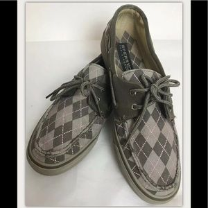 SPERRY TOP SIDERS Plaid BAHAMA Boat Pink Gray